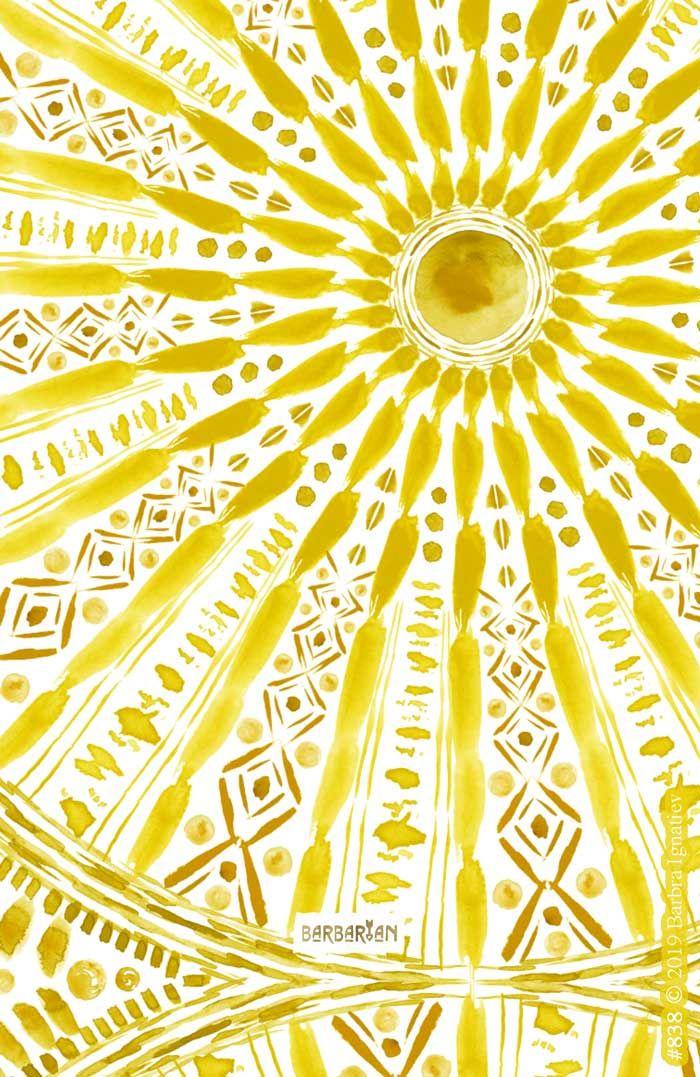 SUN WORSHIP Yellow Mandala – BARBARIAN by Barbra Ignatiev | Bold colorful art