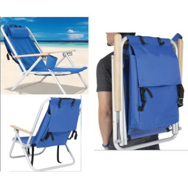 Deluxe Backpack Beach Chair Lounger With Drink Holder Backpack Beach Chair Backpacking Chair Beach Chairs