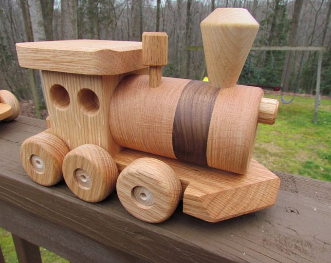 Wooden Train Set Large 3 Car Handmade Toy Pine Heirloom