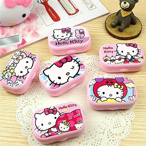 ffd143891 Pink Hello Kitty Pattern Contact Lenses Case | Contact Lens Cases ...