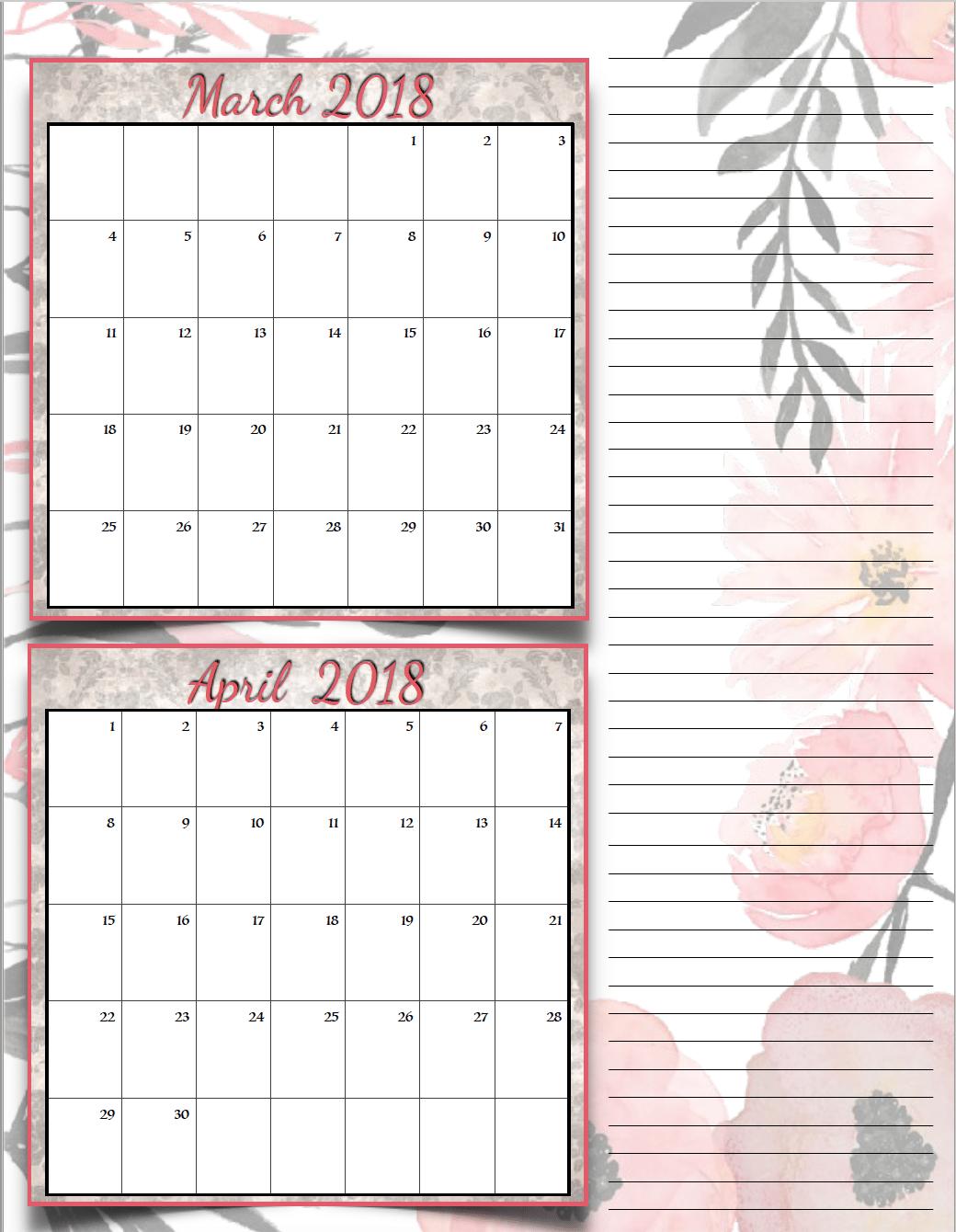 Free Printable 2018 Bimonthly Calendars 6 Designs To Print
