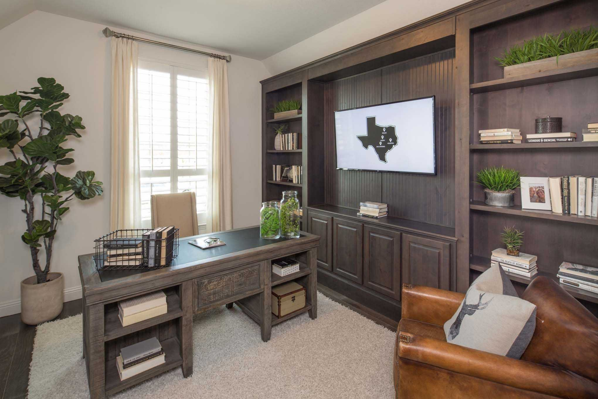 A Professional Looking Home Office Complete With Gray Wood Finishes And Earthy Decor Highlandhomes Texas Home Home Builders Home Office
