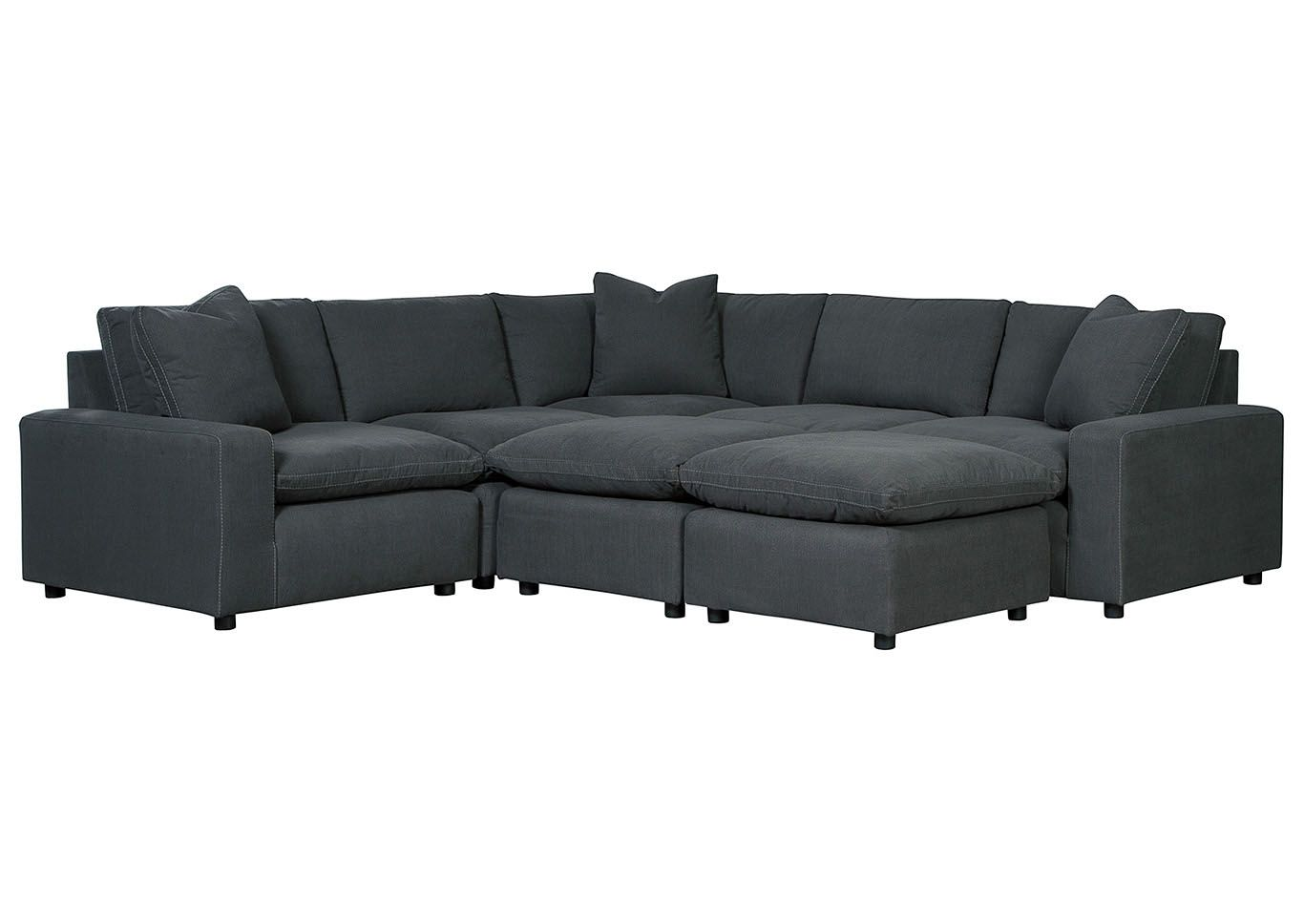 Unclaimed Freight Furniture Pa Nj Savesto Charcoal 5 Piece Sectional Sectional Charcoal Living Rooms Ottoman In Living Room #unclaimed #freight #living #room #sets