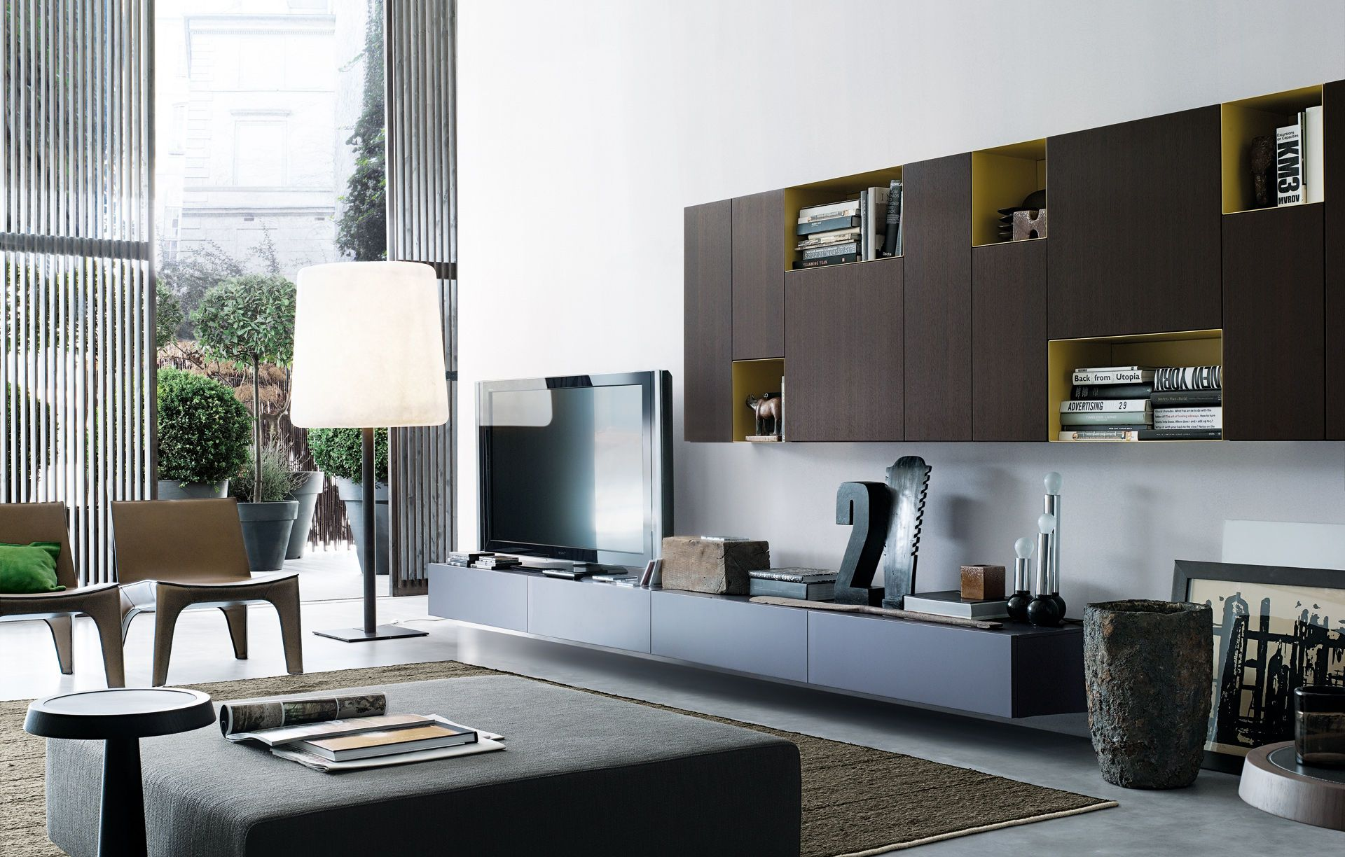 Contemporary tv wall unit sintesi by carlo colombo for Pareti tv moderne