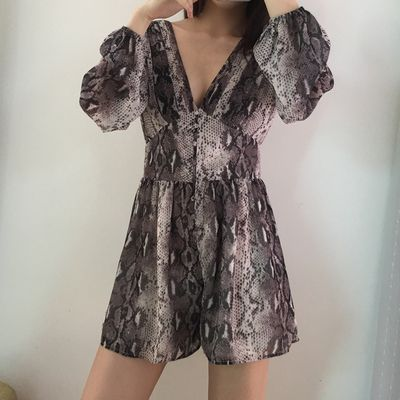 7e240ac2cac V-neck serpentine print pattern long-sleeved dress dress · FE CLOTHING ·  Online