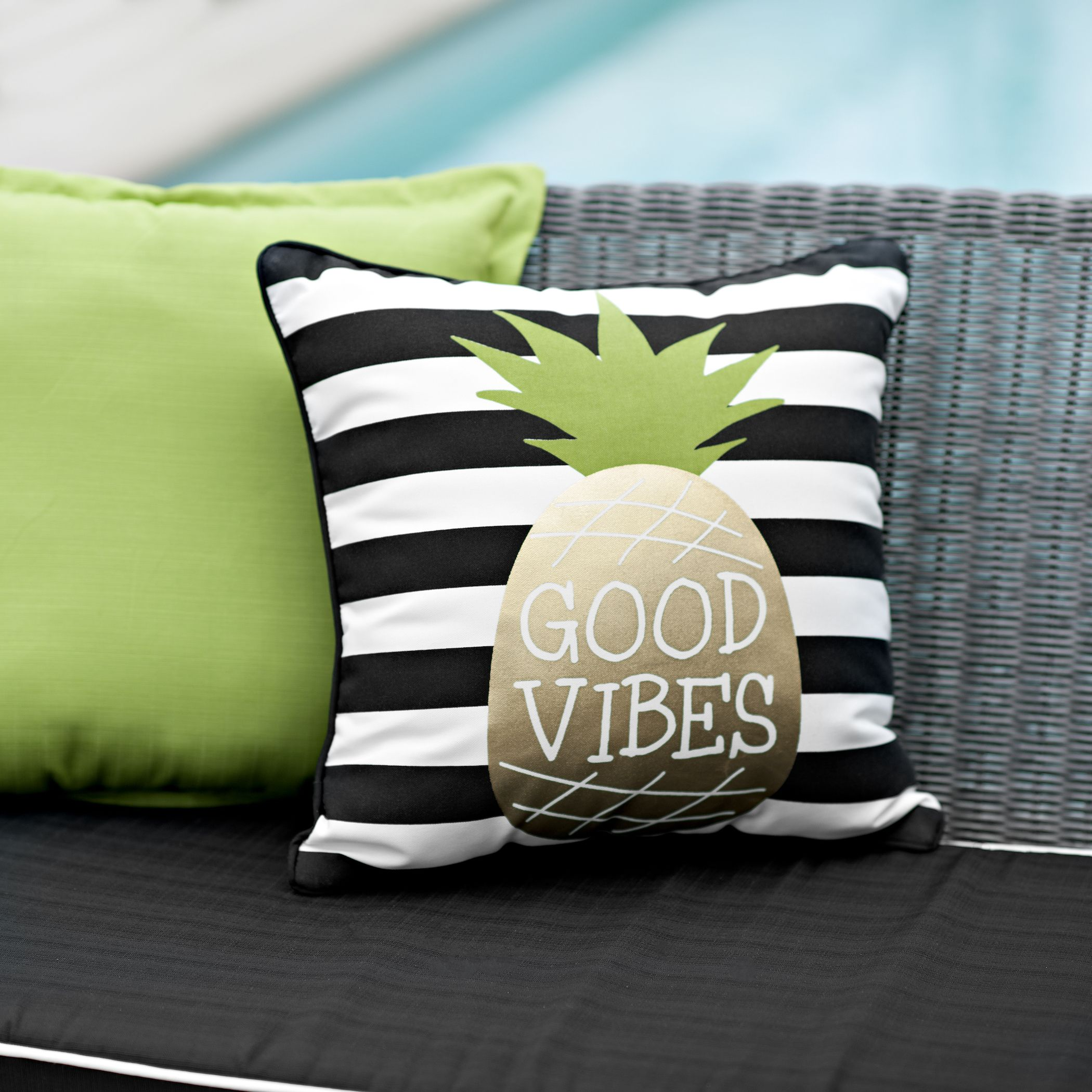 Good Vibes Pineapple Outdoor Pillow
