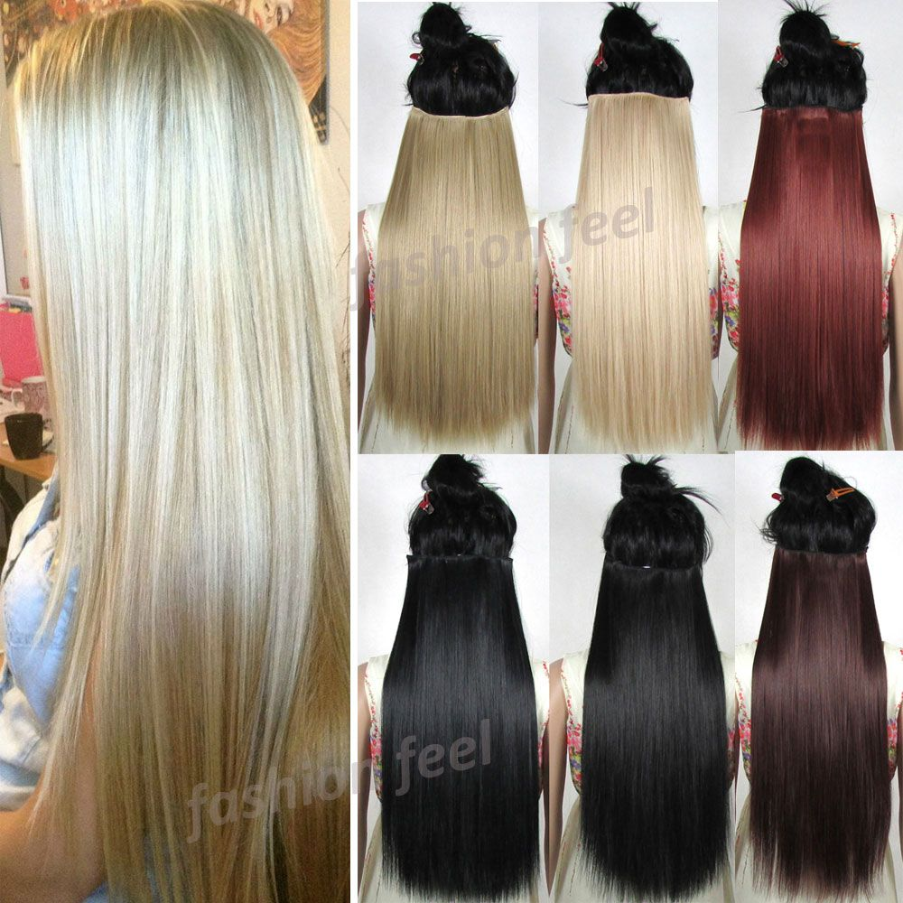 Uk Stock 26 66cm 100 Real Thick Long Straight Clip In Ins Hair