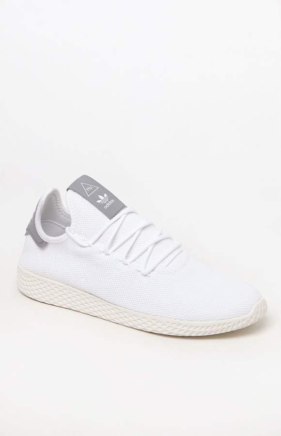 9e9c74367fca6 adidas x Pharrell Williams Tennis Hu White   Gray Shoes