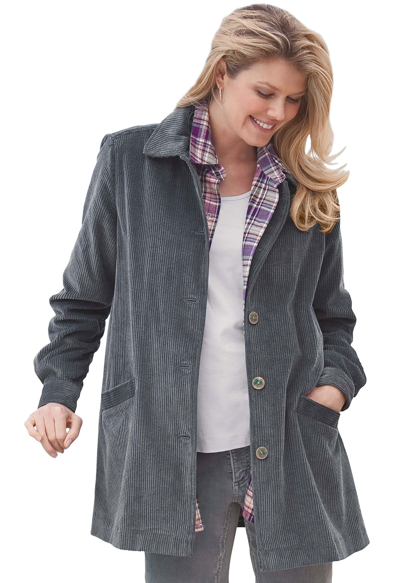 9a622b913b03f Plus Size Jacket in plush pleated corduroy