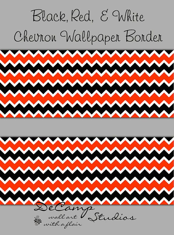 Best Red Black And White Chevron Wallpaper Border Wall Decals 400 x 300