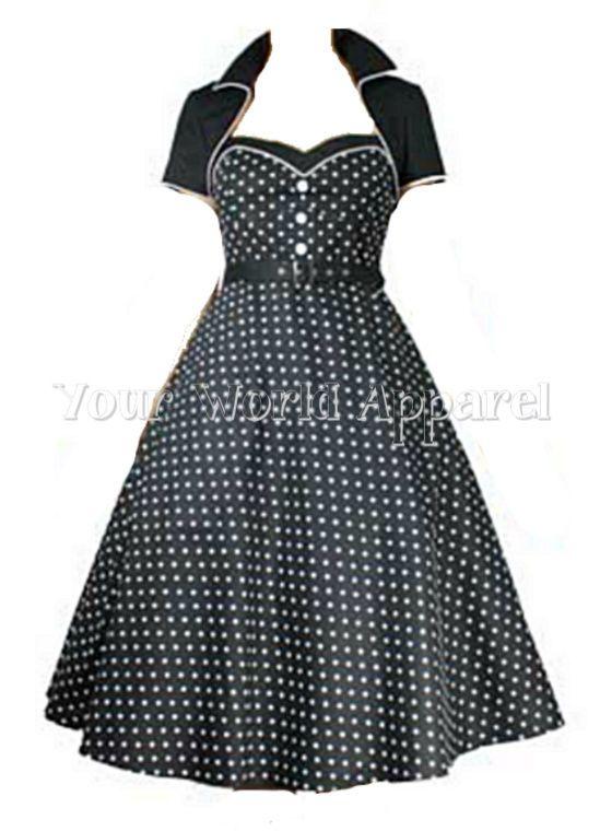 Black with White Polka Dot Dress Bolero 50s Rockabilly Flare Swing Retro Vintage