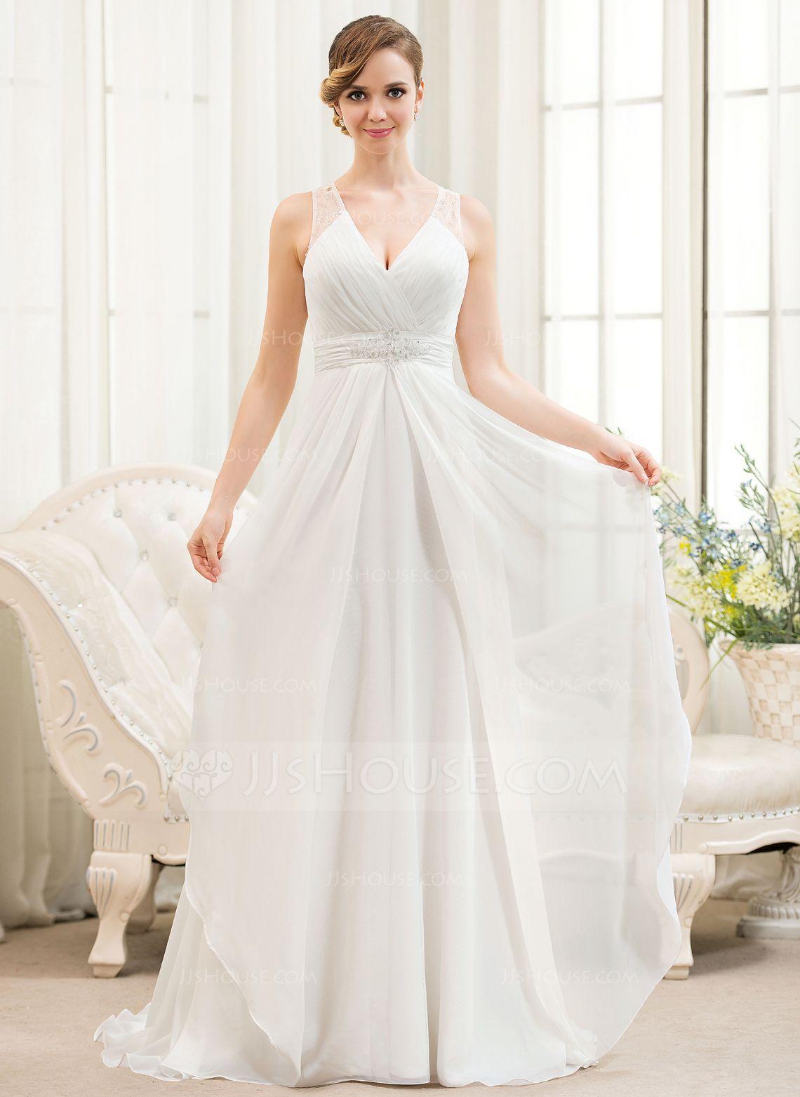 Dress for party wedding  ALinePrincess Vneck Sweep Train Chiffon Wedding Dress With