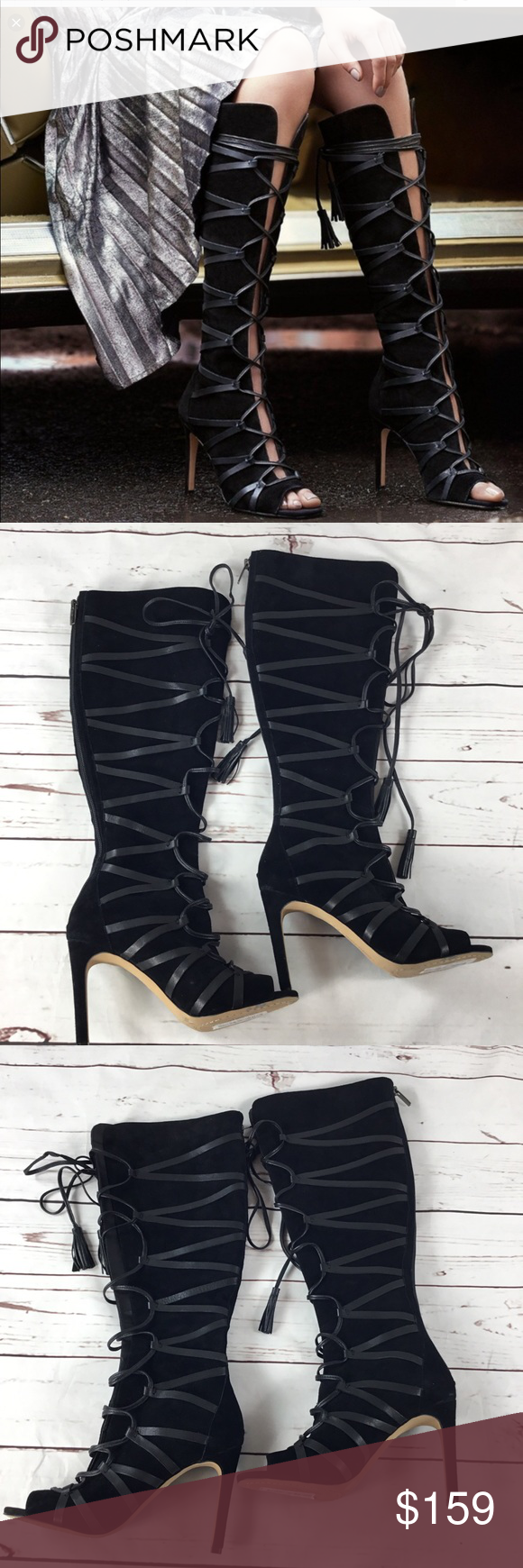 4cec5fa2383b NWT Vince Camuto CARSEY Suede Caged Boot. Size 6.5 NWT