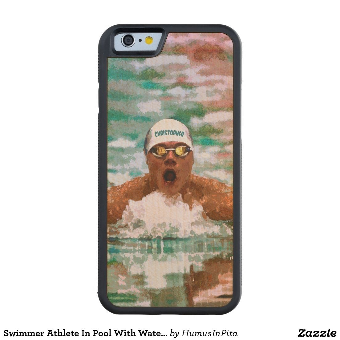 Swimmer Athlete In Pool With Water Drops Painting Carved® Maple iPhone 6 Bumper