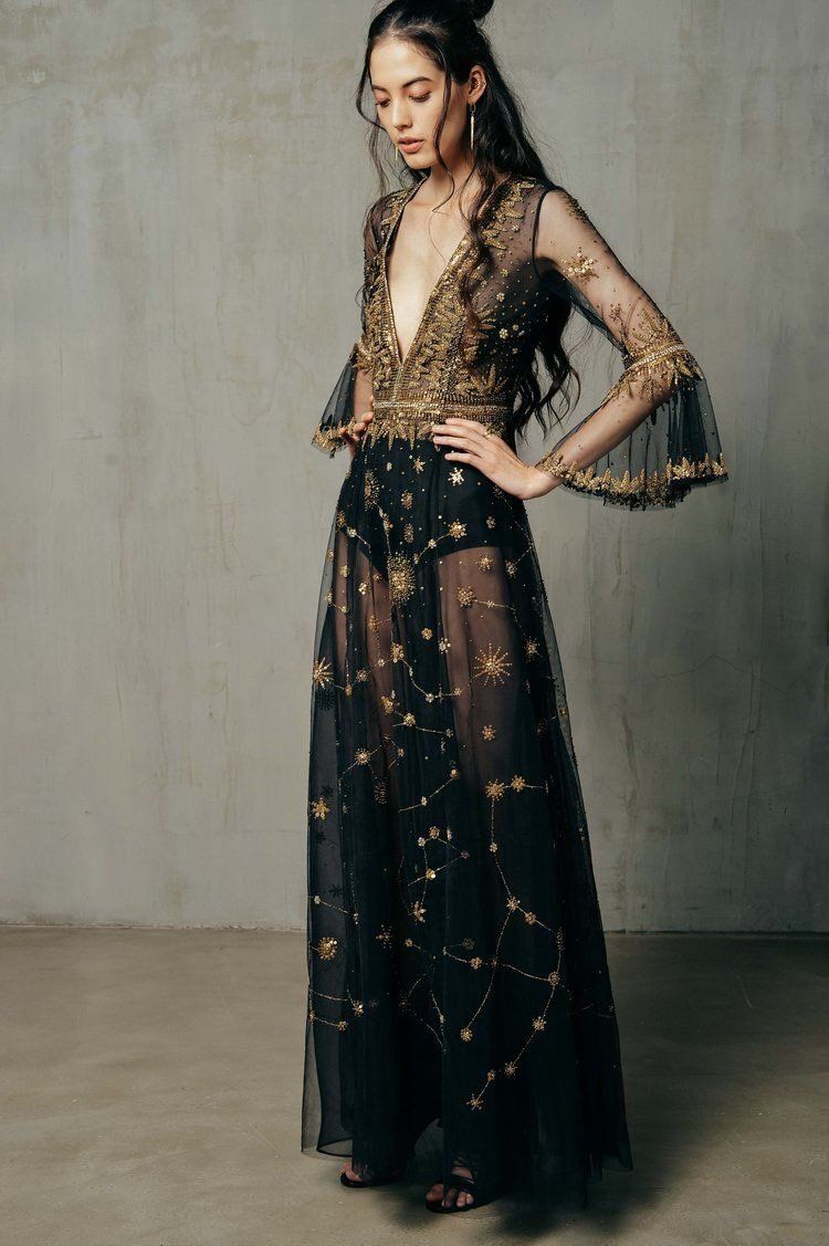 4db2fb8340bb Pretty and daring formal Christmas party gown. Star studded chiffon maxi  dress