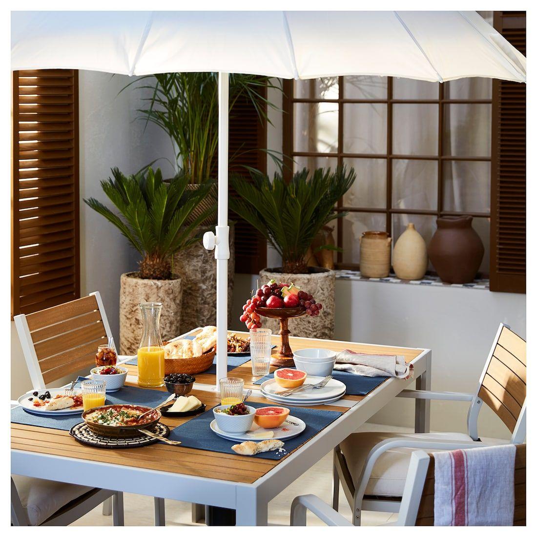 SJÄLLAND Table, outdoor light brown, light gray 61 1