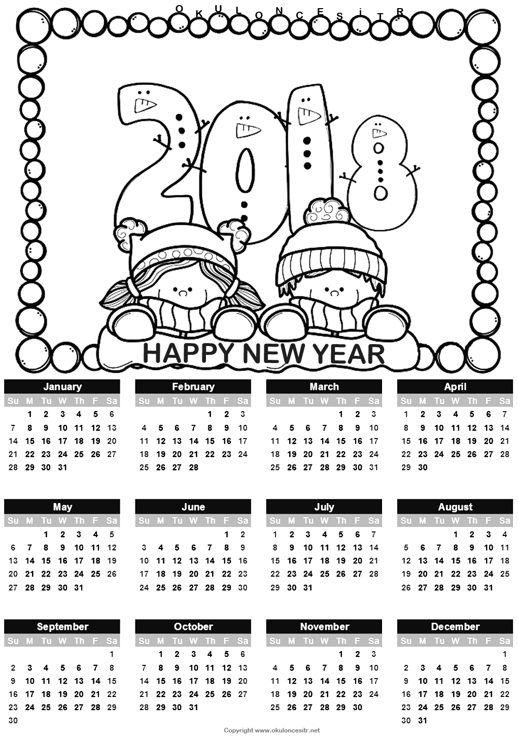 2018 calendar coloring pages