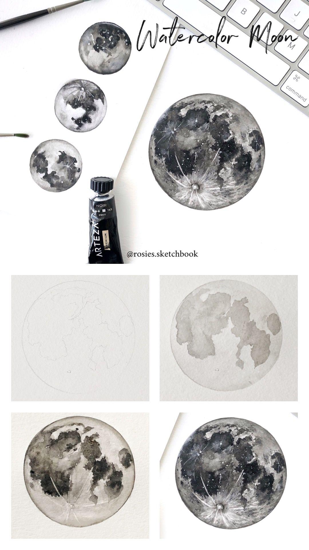 Watercolor Moon Tutorial Watercolor Moon Moon Drawing Painting Tutorial