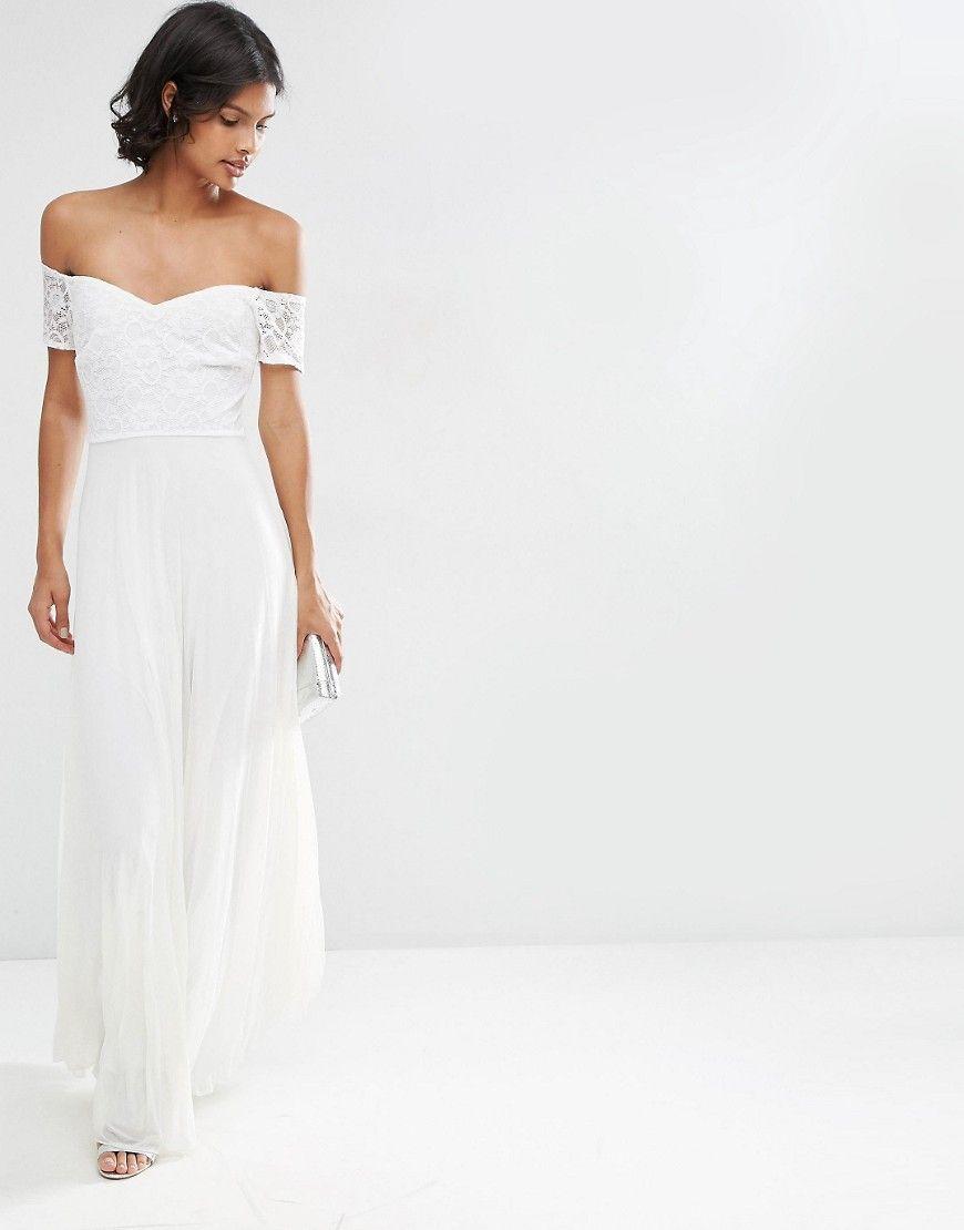 ASOS Lace Top Bardot Pleated Maxi Dress | Wedding dresses ...