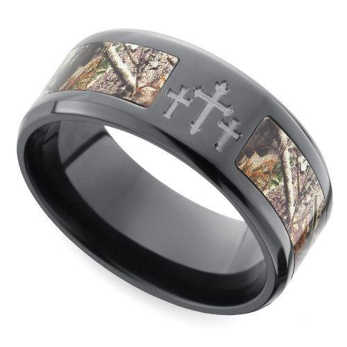 Beveled Camo Inlay Mens Ring With Cross Design In Zirconium