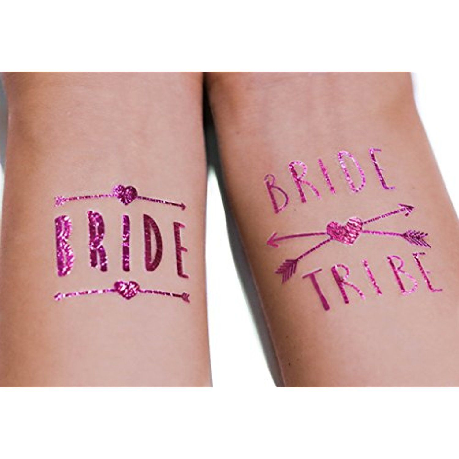 12 pack) PINK - Bride Tribe Temporary Tattoos For A Bachelorette ...