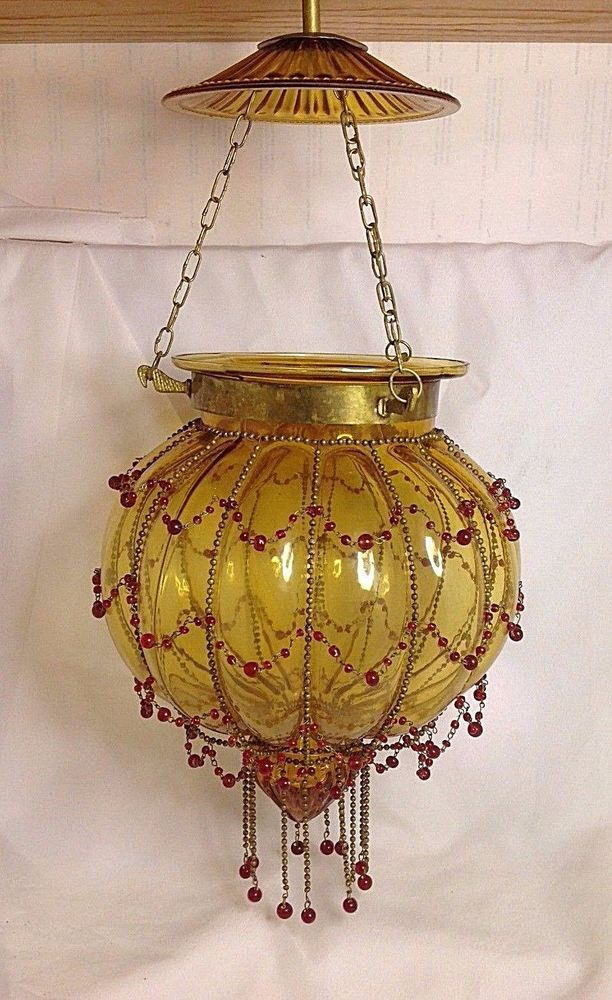 Vintage Hundi Lantern Antique Amber Pumpkin Glass Brass Beaded Hanging Lamp Hanging Lamp Antique Brass Lanterns