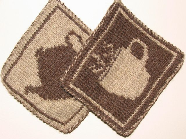 Ravelry: Coffee and Tea Double Knit pot holders, Free pattern by Elizabeth Evans