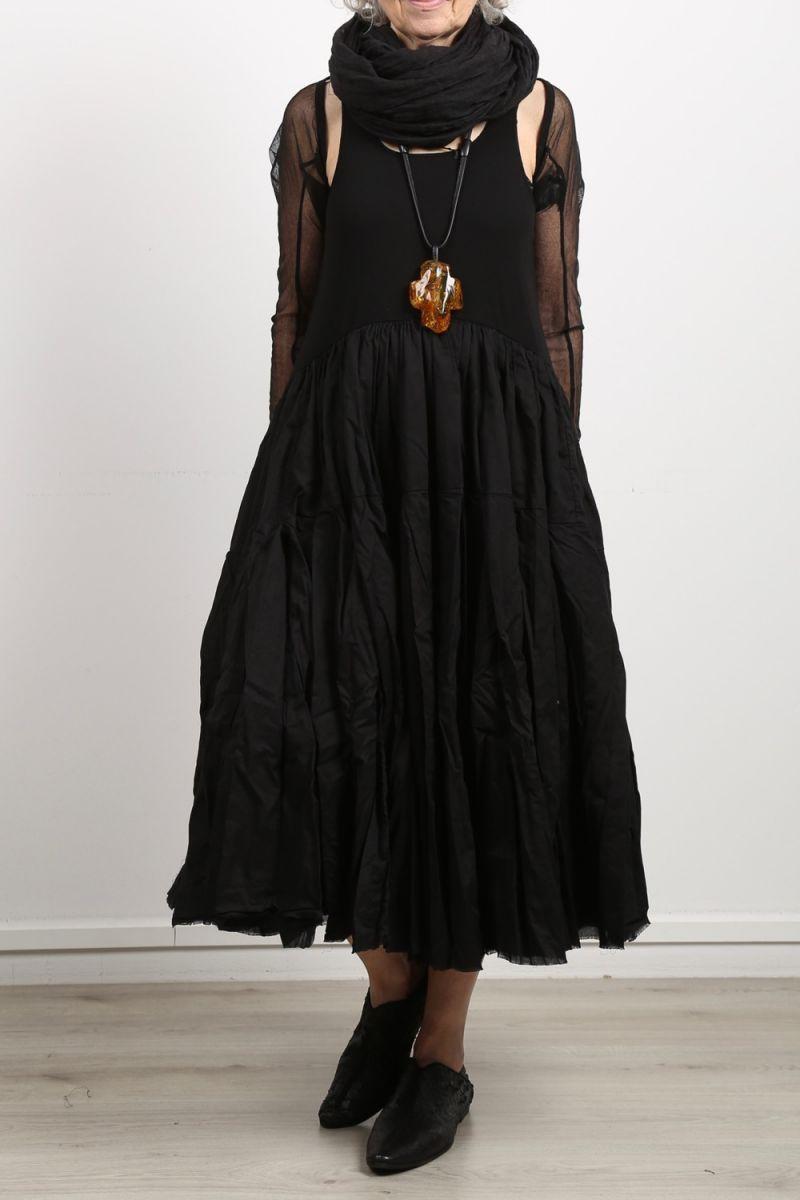 rundholz dip - Dress with flounces sleeveless fabric mix ...