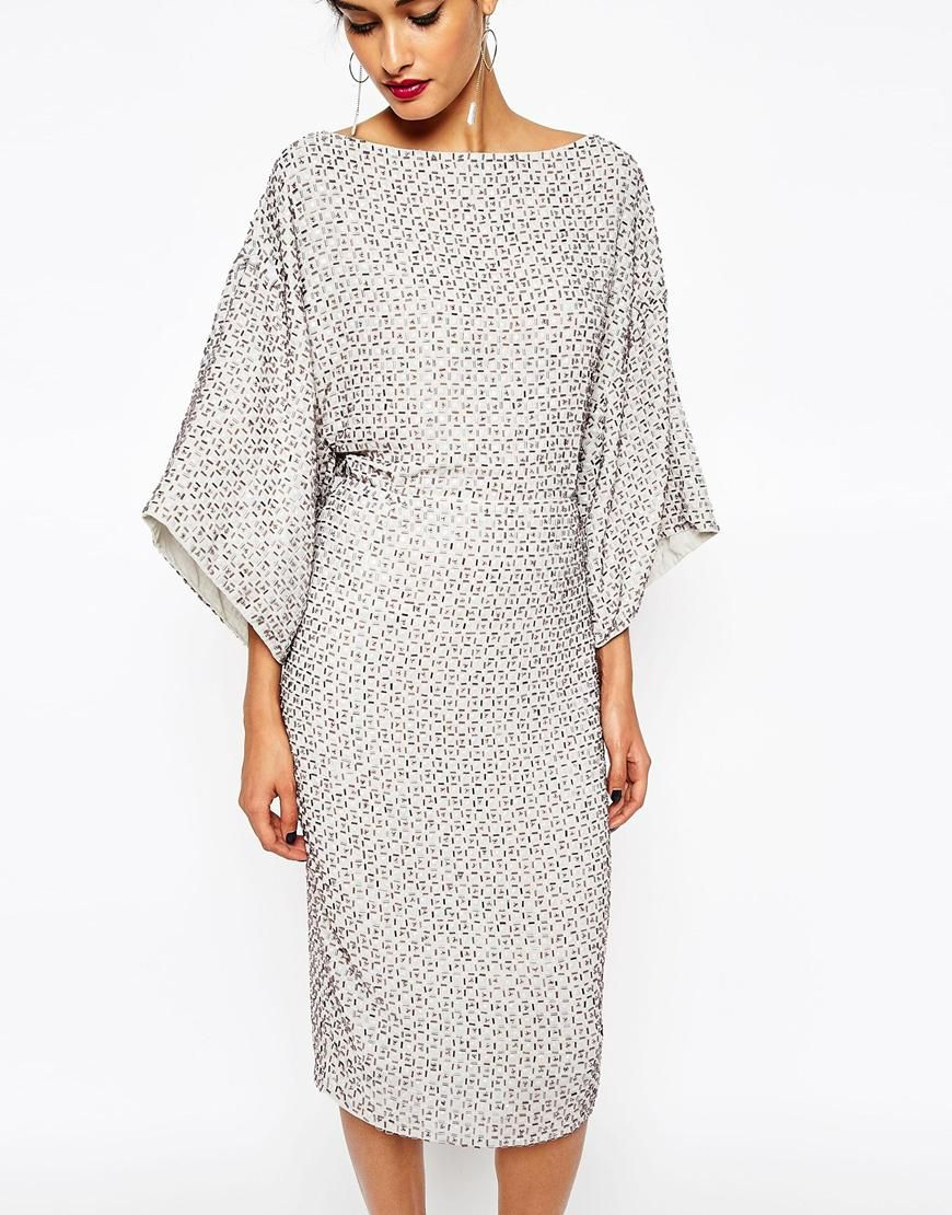 Image 3 of ASOS TALL RED CARPET Sequin Grid Kimono Midi Dress ...