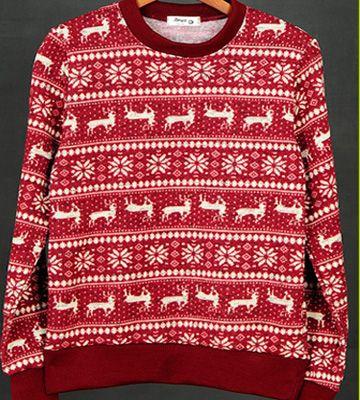 fair isle round sweaters for men slim fit retro mens sweatshirt ...
