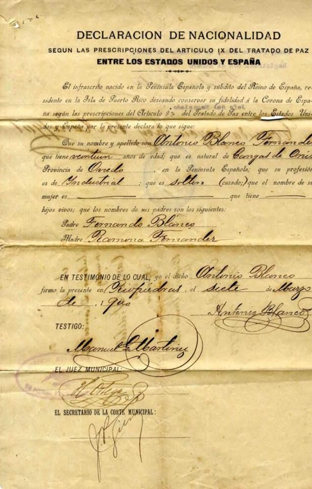Declaraci n de nacionalidad 1900 puerto rico pinterest puerto ricans history and san juan - Nacionalidad de puerto rico en ingles ...
