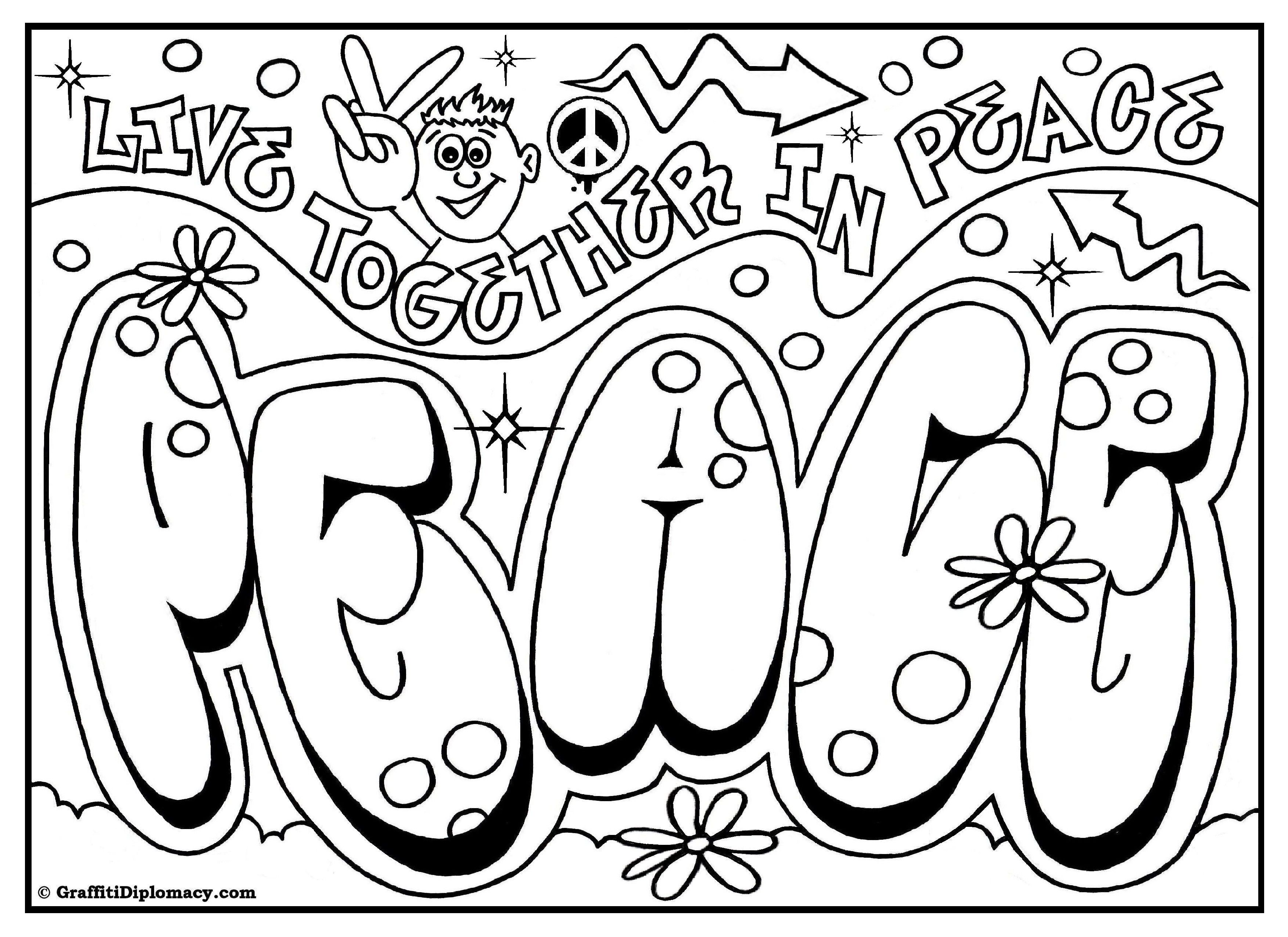 Peace Graffiti Free Printable Coloring Page Love Coloring Pages Printable Coloring Book Name Coloring Pages