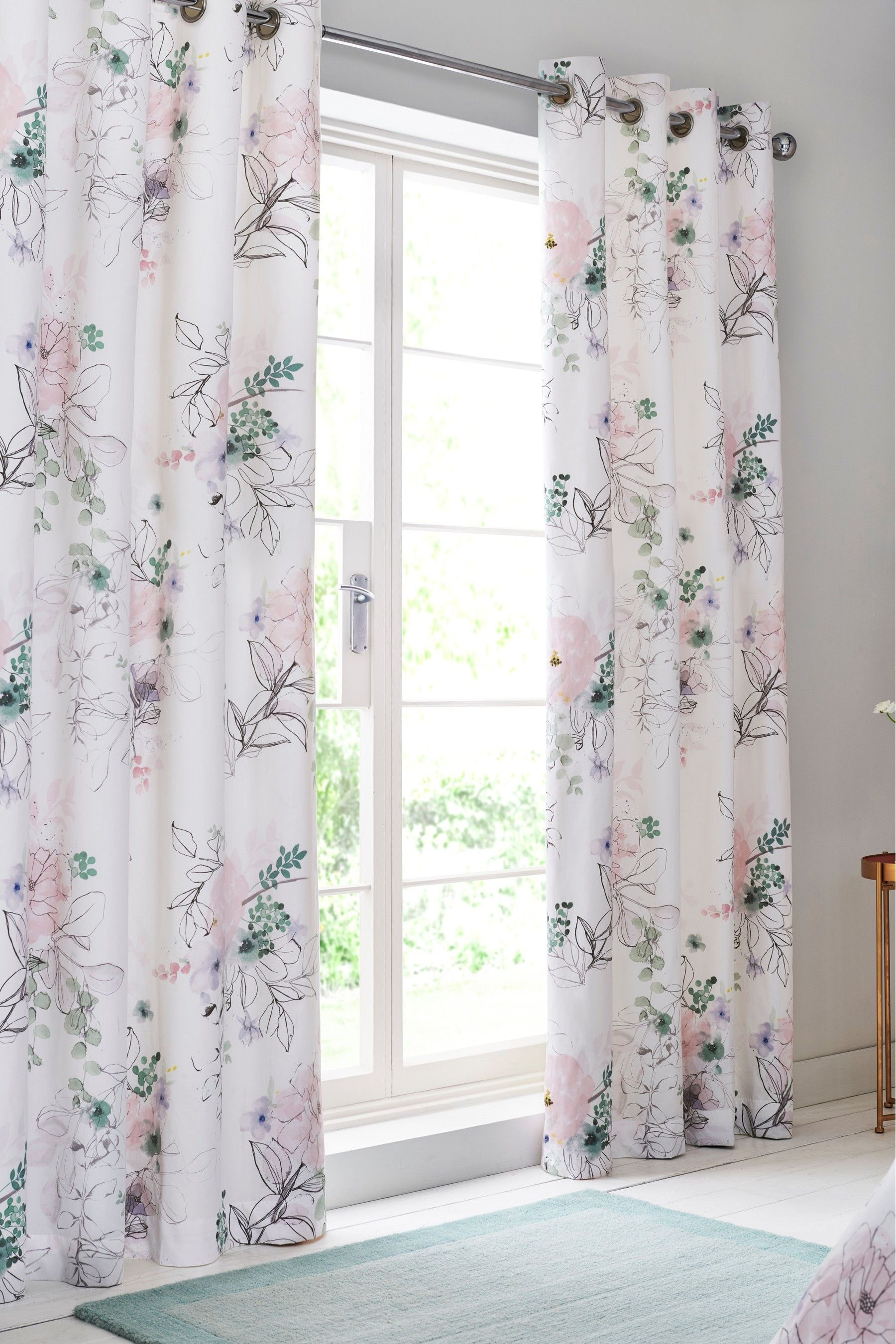 Antiqued Watercolor Lined Grommet Top Curtains Pair 221993