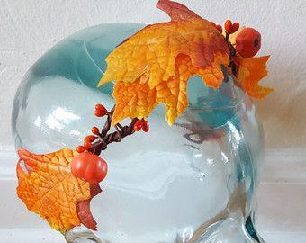 Fall Leaf crown with Pumpkins, Fall Leaf Tiara, Pumpkin Headband, Pumpkin Leaf Crown, Oak Leaf Headband, Orange Leaf Crown, Autumn Tiara