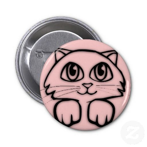 Pink  Peeking Kitten Button