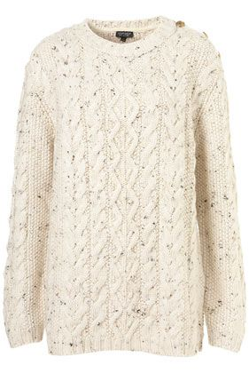 TOPSHOP  Knitted Button Cable Jumper