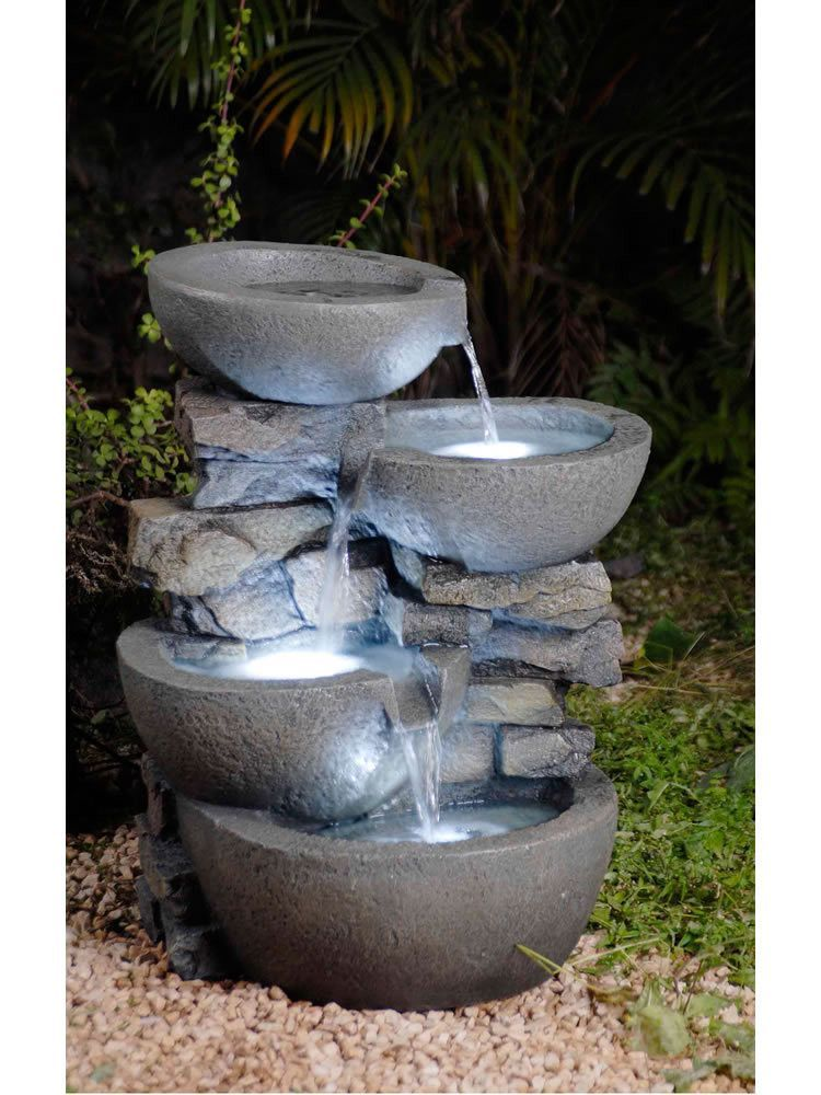 Modern Bowls Fountain With LED Lights