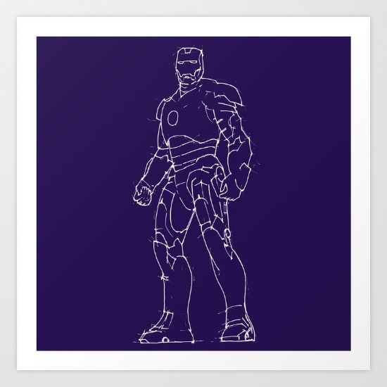 Iron man black background handmade drawing Collect your choice of gallery quality Giclée, or fine art prints custom trimmed by hand in a variety of sizes with a white border for framing.