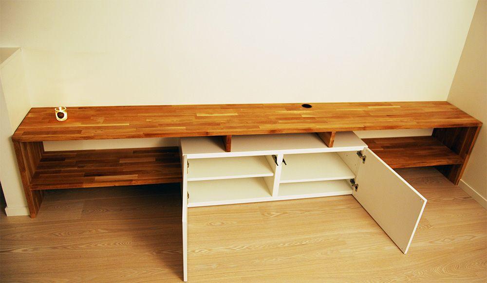 Made To Measure Besta And Oak Tv Bench Tv Bench Ikea Butcher Block Diy Apartments