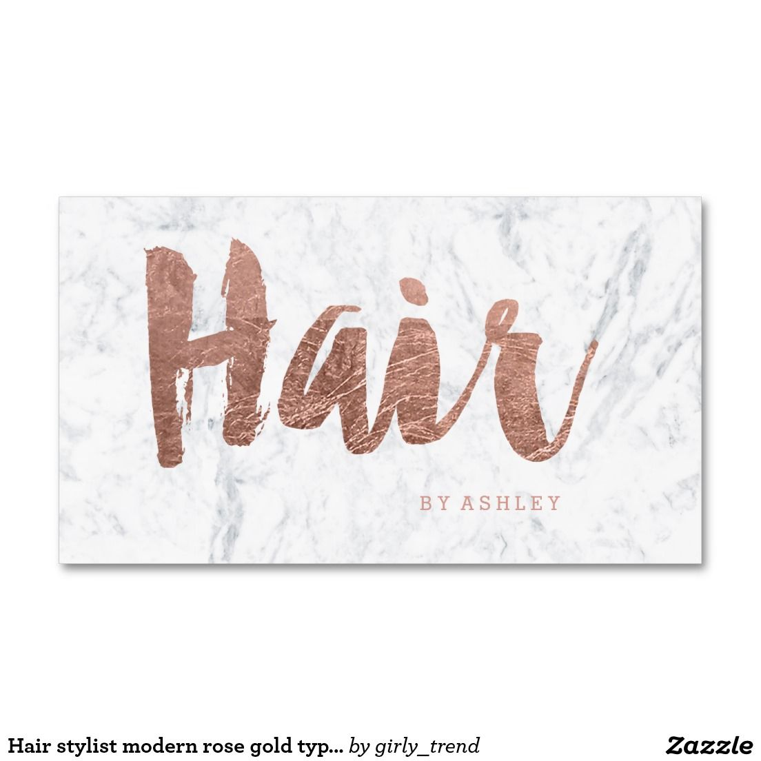Hair stylist modern rose gold typography marble business card ...