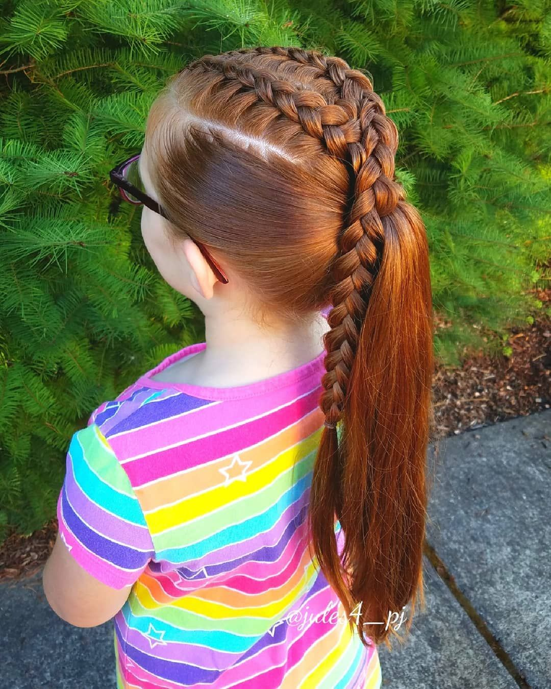 Dutch Braids High Ponytail Easy Braid Styles School Hair Kid