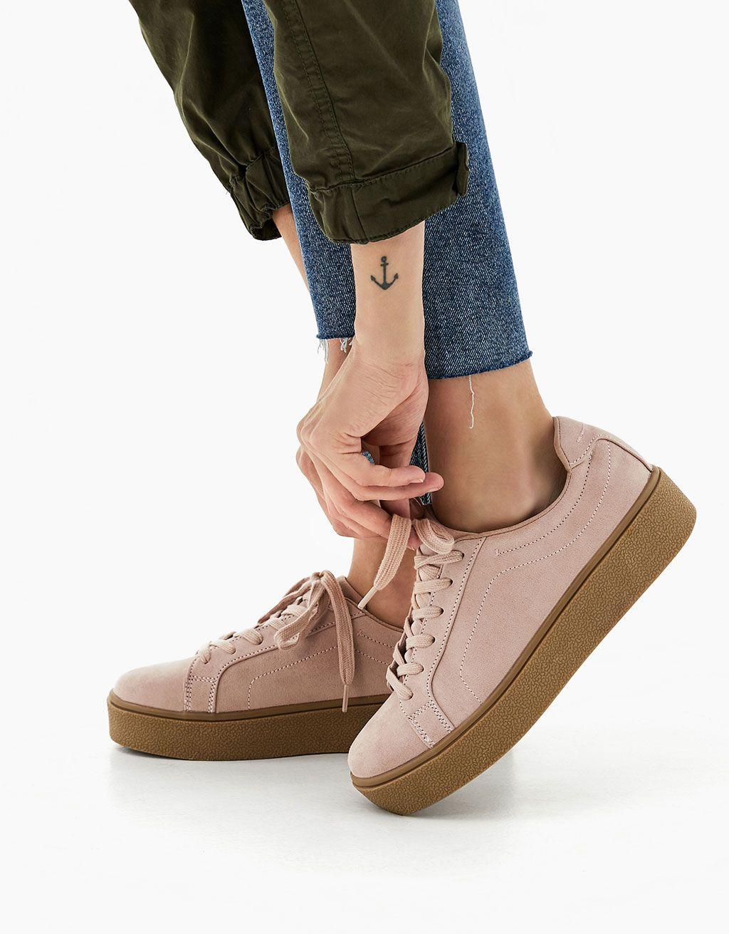 baskets plateforme mode - chaussures - bershka france | wishlist