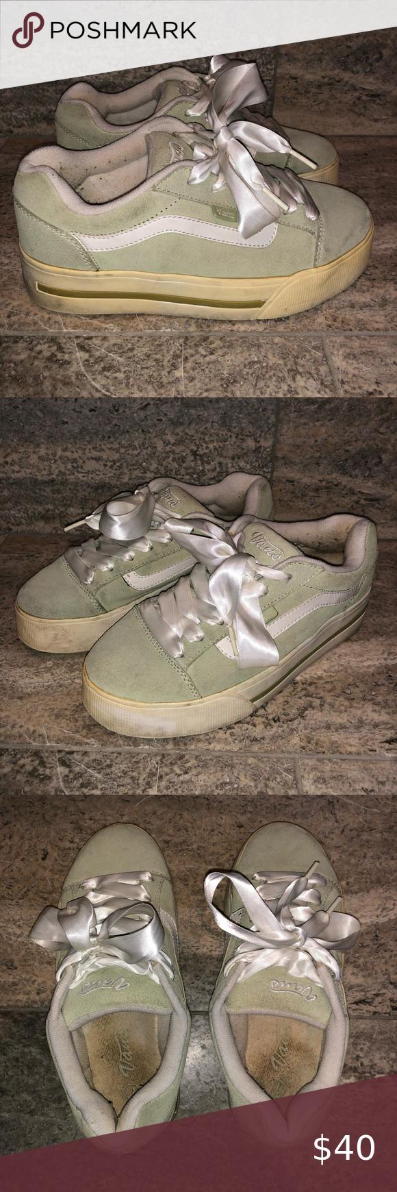 Vintage 90s Vans Teal Platform Shoes In 2020 Platform Shoes 90s Vans Vans