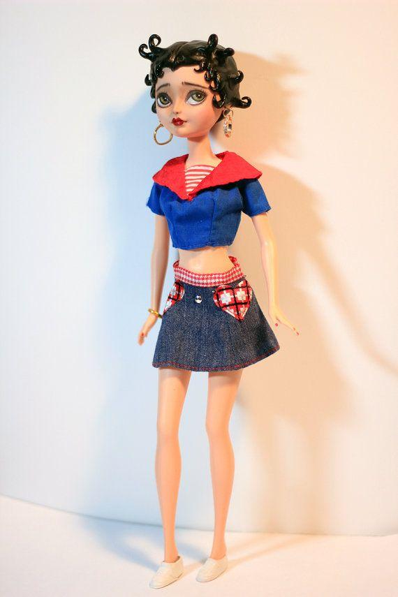 BETTY BOOP Custom Altered Art Doll OOAK Repaint by Refabrications #refabrications #ooak #ooakdoll #dollrepaint #repaint #custom #customdoll #everafterhigh #everafterhighdoll #ooakeveafterhigh #ooakbarbie #barbie #barbierepaint #custombarbie #bettyboop #patriotic #american #girl #pretty #beautiful #unique #sculpted #hair #sculptedhair #moldedhair #clay #epoxy #epoxyclay #eyes #greeneyes #retro #50s #fifties #sailor #workinggirl