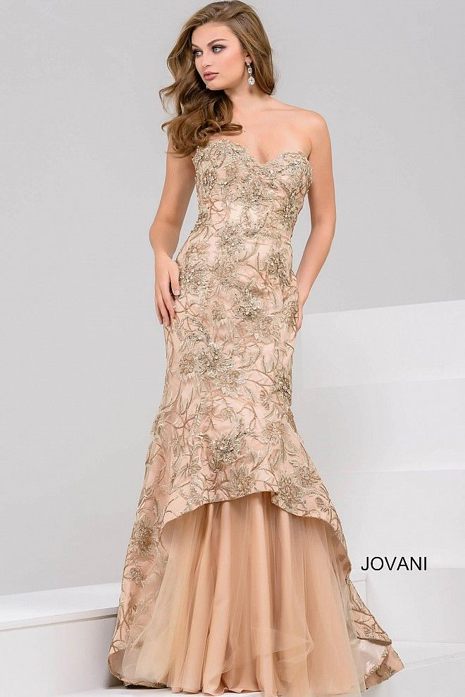 Floor Length Champagne Prom Dress with Floral Embroidered