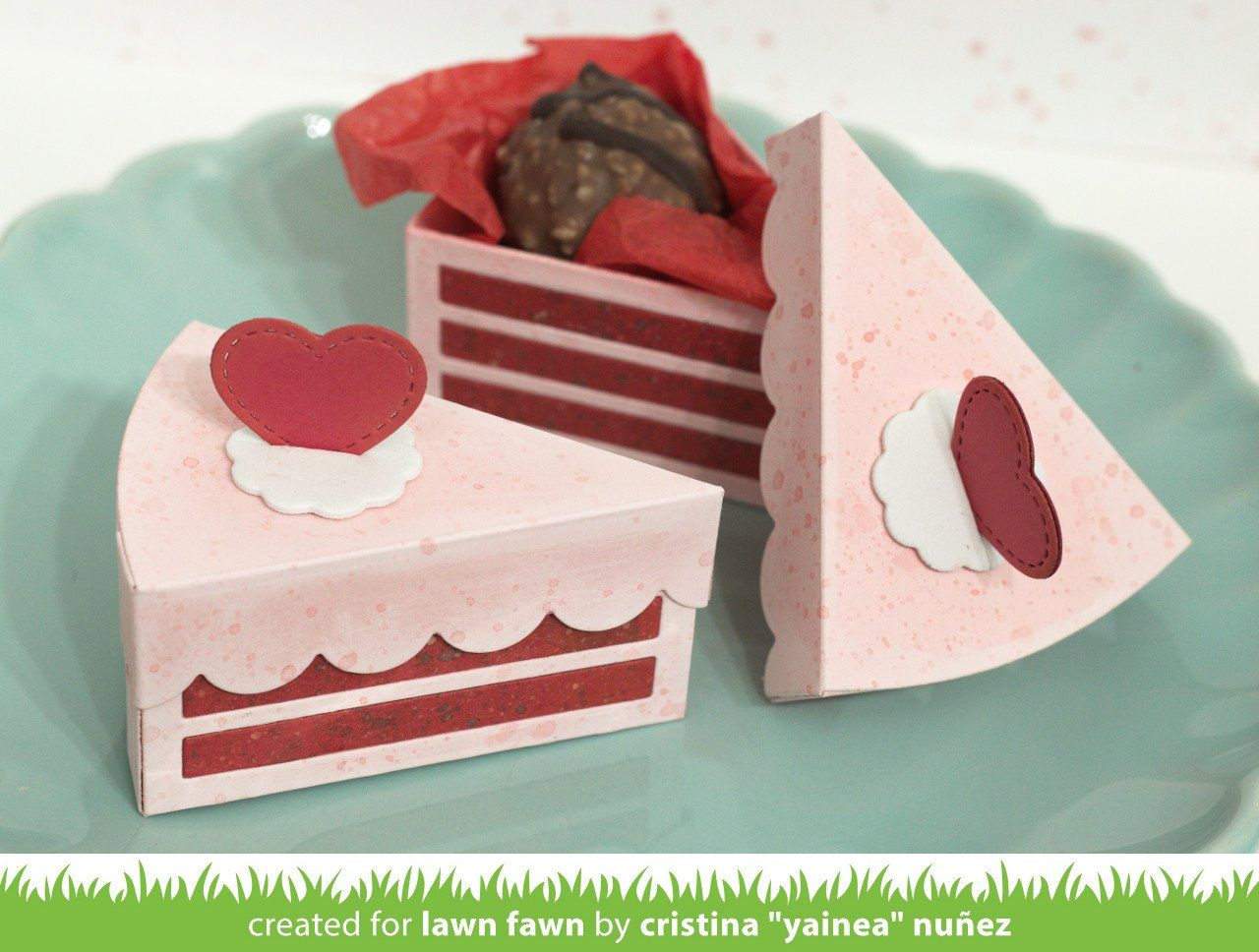 Cake slice box cake slice boxes lawn fawn valentine cake
