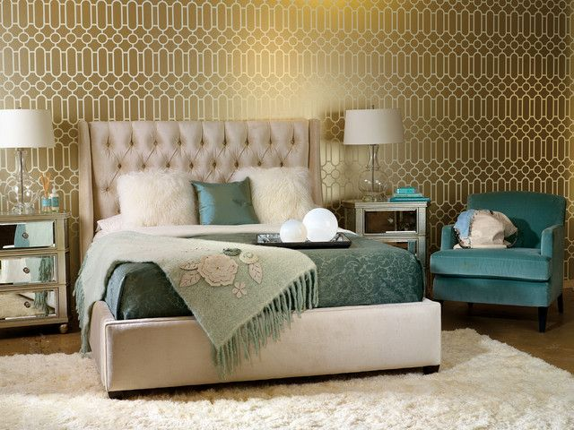 Eclectic bedroom by high fashion home i never thought i would like gold walls but this wallpaper is fantastic and i like the gold and teal combo