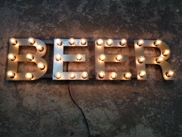 Metal Letters Beer Light Fixture 18 Inch Tall Marquee Signage 340 00 Via Etsy