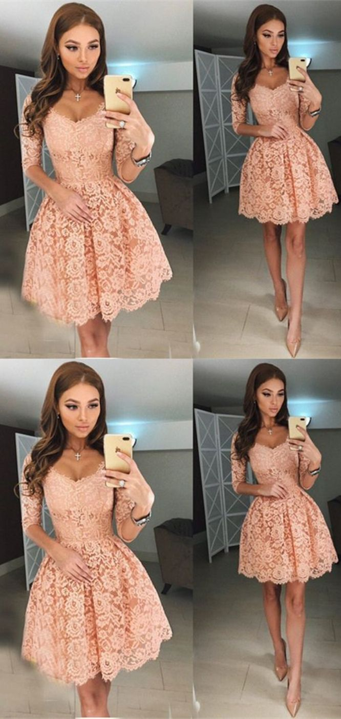 lace homecoming dresses,simple homecoming dress,pink
