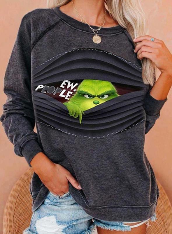 Women's Sweatshirts Color Block Long Sleeve Round